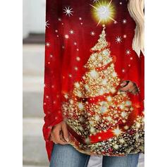 Imprimeu Guler Rotund Mâneci Lungi Crăciun brățară