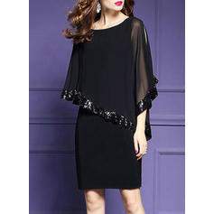 Sequins Split Sleeve Sheath Knee Length Casual/Party/Elegant Dresses