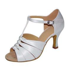 Women's Satin Sandals Pumps Latin With T-Strap Dance Shoes
