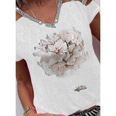 Estampado Floral Lantejoulas Ombros à Mostra Manga Curta Casual Blusas