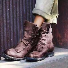 Dla kobiet PU Niski Obcas Kozaki Z Zamek błyskawiczny obuwie