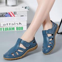 Femmes Vrai cuir Talon plat Sandales Chaussures plates avec Velcro chaussures