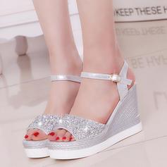 Naisten PU Wedge heel Sandaalit Avokkaat Platform Kiilat jossa Tekojalokivi kengät