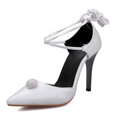 Women's Silk Like Satin Stiletto Heel Sandals Pumps Closed Toe With Lace-up shoes