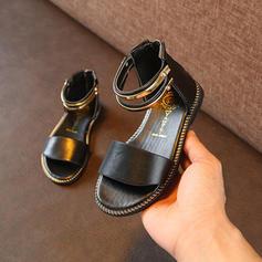 2952cb405733d ... Fille de similicuir talon plat À bout ouvert Sandales Chaussures plates  Chaussures de fille de fleur ...