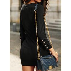 Jednolita Długie rękawy Bodycon Nad kolana Mała czarna/Casual Sukienki