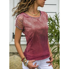 Tie Dye Round Neck Short Sleeves Casual T-shirts