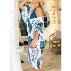 Leaves Print V-neck Bohemian Boho Cover-ups Swimsuits