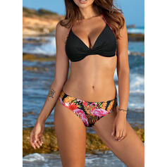 Floral Solid Color Strap V-Neck Sexy Bikinis Swimsuits