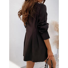 Solid Long Sleeves A-line Above Knee Little Black/Casual/Elegant Skater Dresses