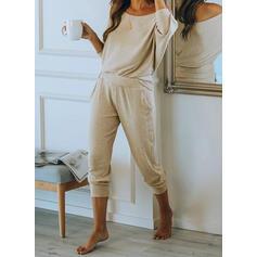 Polyester Solid Sexy 3/4 ærmer Pyjamasæt
