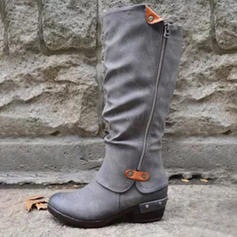 Women's PU Low Heel Boots With Chain shoes