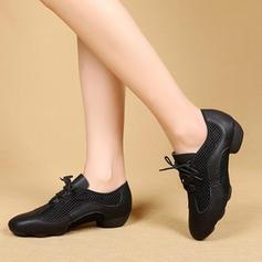Women's Latin Modern Sneakers Real Leather Mesh Latin