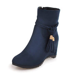 Frauen Veloursleder Keil Absatz Keile Stiefel Stiefelette Schuhe