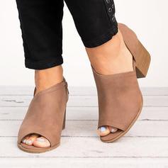 Vrouwen PU Chunky Heel Pumps Peep Toe met Rits schoenen