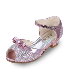 Girl's Leatherette Low Heel Peep Toe Sandals Pumps Flower Girl Shoes With Bowknot Buckle Rhinestone