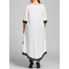 Tallas Grande Lentejuelas Mangas 3/4 Vestidos sueltos Asimétrico Casual Elegante Vestido