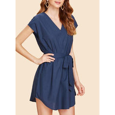 Solid V-neck Above Knee Shift Dress
