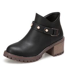Femmes Similicuir Talon bottier Plateforme Bottes Bottines avec Perle d'imitation Boucle chaussures