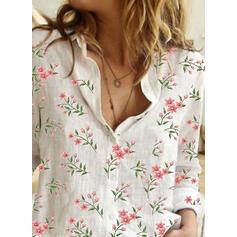 baskı Çiçekli klapa Uzun kollu Düğmesiz Yakalı Günlük Gömlekler