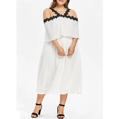 Solid/Patchwork Short Sleeves Shift Casual/Plus Size Midi Dresses