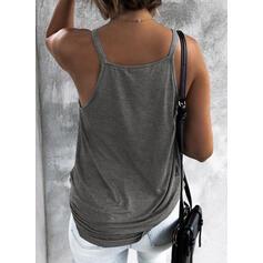Sólido Decote em V Sem Mangas Casual Sexy Camisetas regata