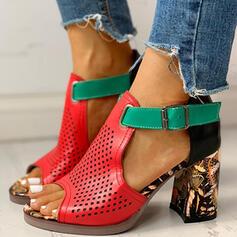 Женский PU Толстый каблук Сандалии Peep Toe с пряжка обувь