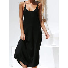 Solid Sleeveless Shift Little Black/Casual/Vacation Midi Dresses
