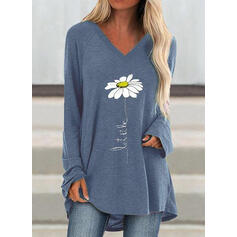 Print Floral V-Neck Long Sleeves