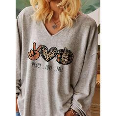 Print Leopard Hjärta V-ringning Långa ärmar Fritids Halloween T-shirts