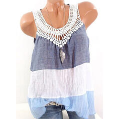 Color Block Lace Round Neck Sleeveless Casual Tank Tops