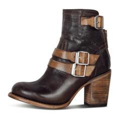 Mulheres PU Salto robusto Bombas Fechados Botas com Fivela Zíper sapatos