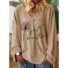 Dandelion Figure Print V-Neck Long Sleeves T-shirts