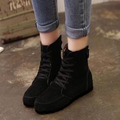Donna Tessuto Senza tacco Ballerine Stivali con Allacciato scarpe