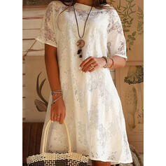 Lace/Solid Short Sleeves Shift Knee Length Casual/Elegant Dresses