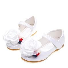 Muchacha Kunstleder Talón plano Encaje Punta Cerrada Planos Zapatos de niña de las flores con Arco del satén Velcro