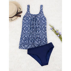 Floral Blouson Triangle U Neck Sexy Plus Size Tankinis Swimsuits