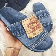 Női Farmer Lapos sarok Szandál Lakások Peep Toe Papucs -Val Splice szín cipő