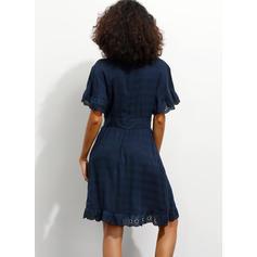 Koronka/Jednolita Krótkie rękawy W kształcie litery A Długośc do kolan Casual/Elegancki Sukienki