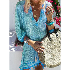 Print Long Sleeves A-line Above Knee Casual/Vacation Dresses