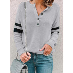 Solid Striped V-Neck Long Sleeves Button Up Casual Knit Blouses