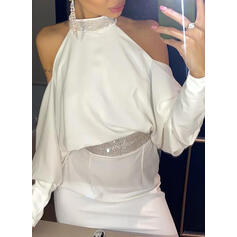 Sequins/Patchwork Cold Shoulder Sleeve Bodycon Above Knee Sexy/Party Dresses