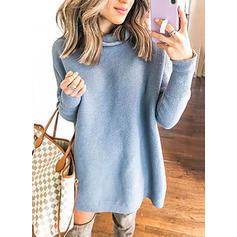 Solid Chunky knit Turtleneck Sweater Dress