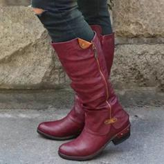 Women's PU Chunky Heel Mid-Calf Boots With Zipper shoes