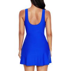 Solid Color Strap Elegant Plus Size Swimdresses Swimsuits