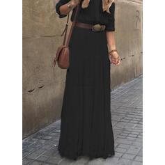 Solid 3/4 Sleeves A-line Little Black/Casual Maxi Dresses