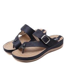 Femmes PU Talon compensé Sandales avec Boucle chaussures