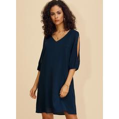 Solid 3/4 Sleeves/Split Sleeve Shift Above Knee Casual/Elegant Dresses