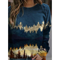 Print Forest Round Neck Long Sleeves Sweatshirt