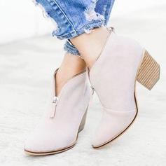 Women's PU Chunky Heel Pumps With Zipper shoes
